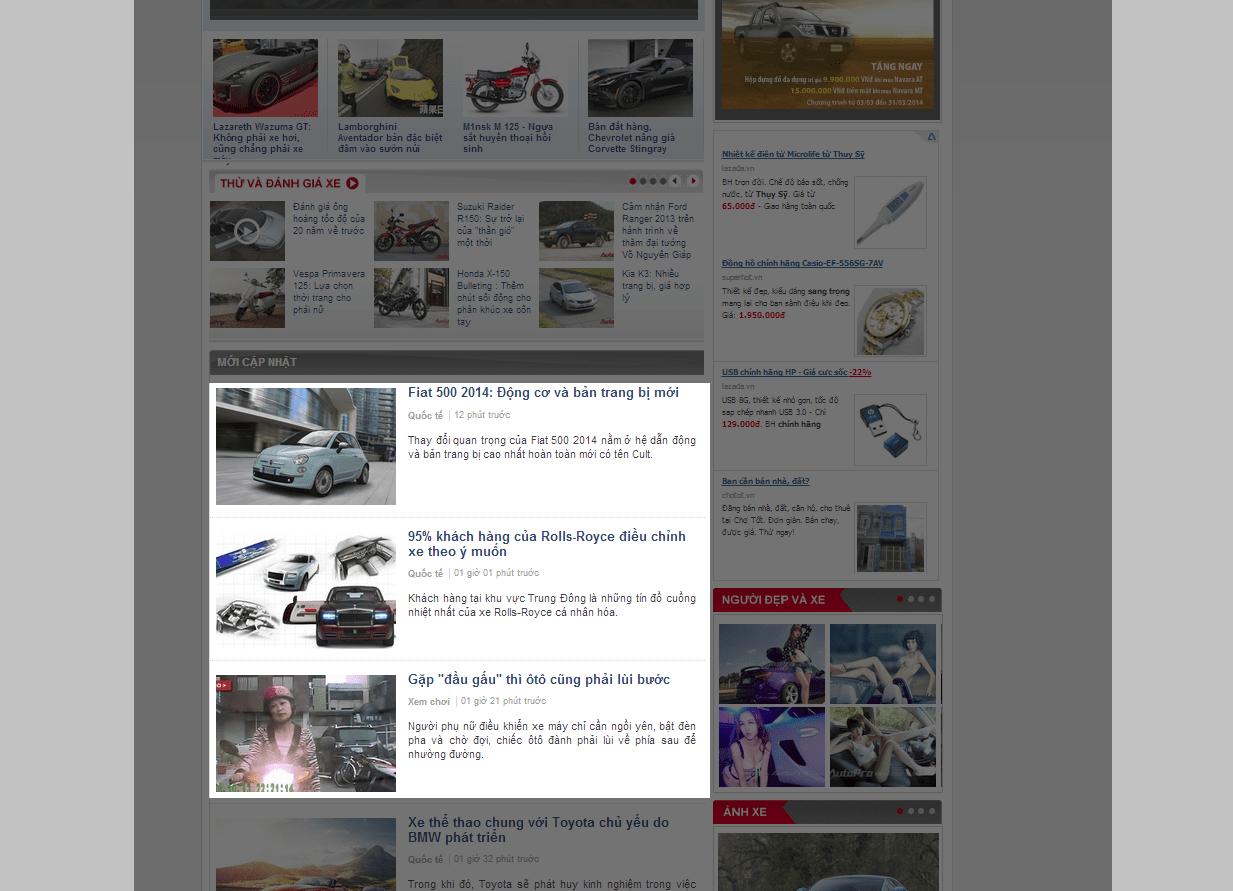Báo giá bài PR trên AutoPro loại 1