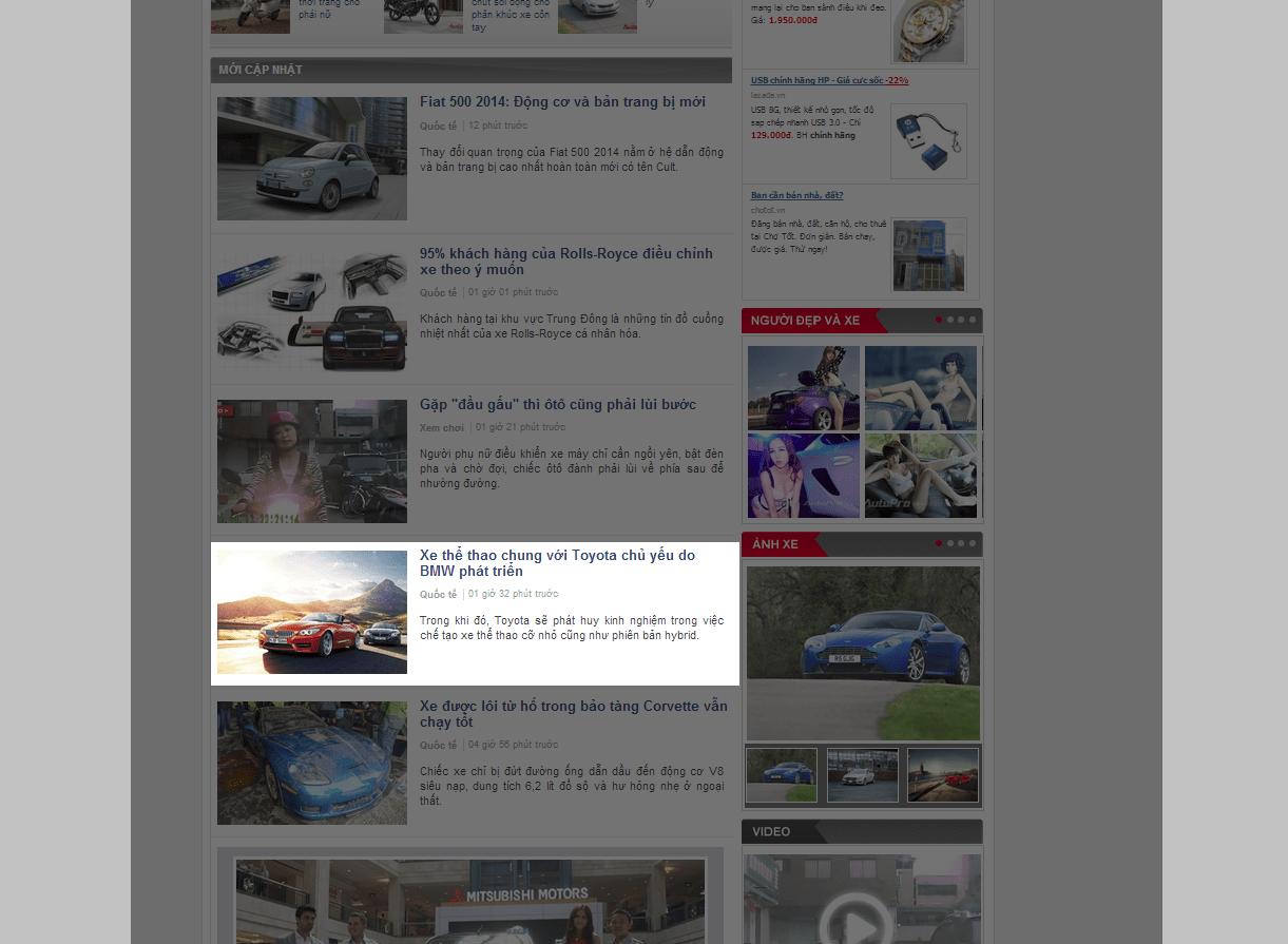 Báo giá bài PR trên AutoPro loại 2