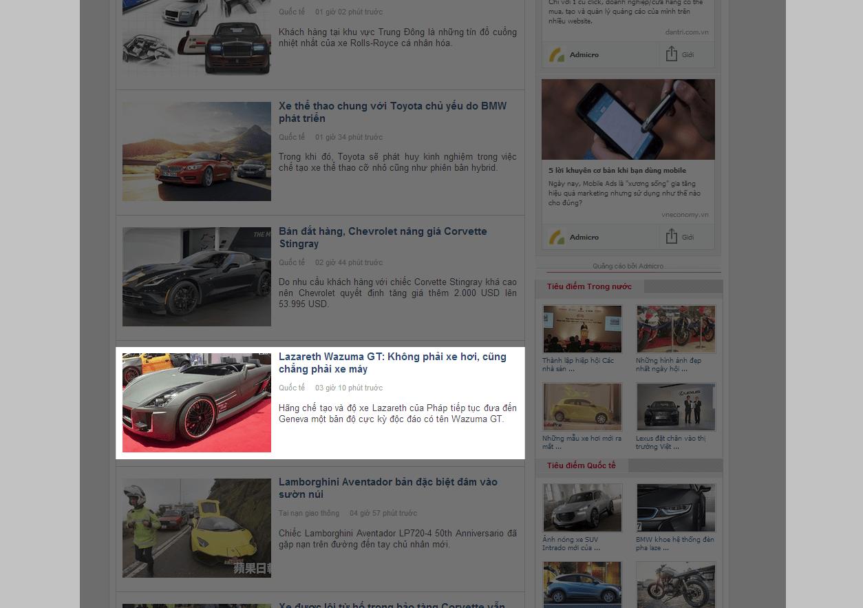 Báo giá bài PR trên AutoPro loại 3